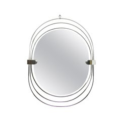 Polished Stainless Steel Unusual Oval Mirror