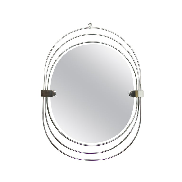Polished Stainless Steel Unusual Oval Mirror For Sale