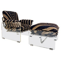 Pace Collection Argenta Lucite and Chrome Lounge Chair and Ottoman in Zebra Hide