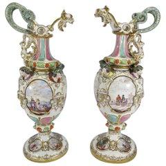 Pair of 18th Century German Meissen Porcelain Jugs