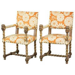 Pair of Louis III Style Armchairs in Sculpted Oak