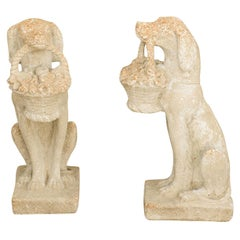 Pair of Midcentury English Cast Dog Sculptures Carrying Baskets of Flowers