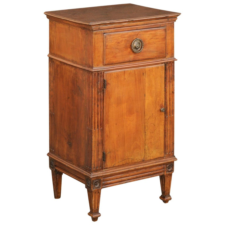 3c86624339 French 1840s Louis-Philippe Walnut Bedside Cabinet with Single Drawer and  Door For Sale