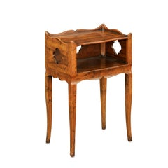 French 1960s Walnut Nightstand Table with Open Shelf and Quatrefoil Motifs