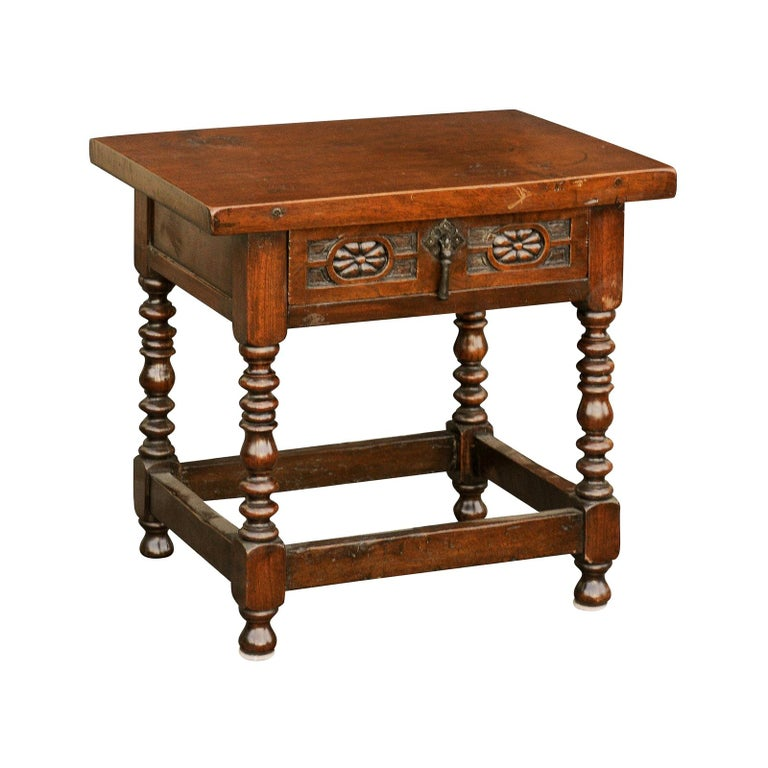 Italian 1900s Walnut Side Table with Drawer, Carved Rosettes and Turned Legs For Sale