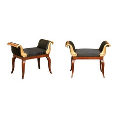 Pair of 1840s Biedermeier Wooden Benches with Gilt Dolphins and Black Upholstery