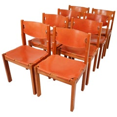 Set of Eight Cognac Leather Dining Chairs in Pinewood, France, 1960s