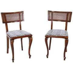 Pair of Rare Hungarian Art Deco Bentwood Chairs on Cabriole Legs, 1930s