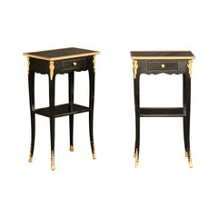 Pair of French Midcentury Ebonized Tables with Ormolu Mounts, Drawer and Shelf