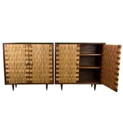 Pair of Maple and Woven Cane Cabinets with Interior Shelves, by Edmund Spence