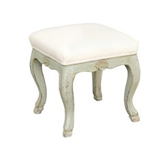 French Louis XV Style 1890s Painted Stool with Cabriole Legs and Hoof Feet