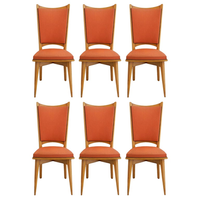 Six Midcentury French Dining Chairs Art Deco all Original in Good Condition For Sale