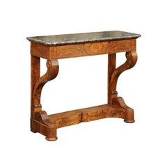French 1840s Louis-Philippe Walnut Console Table with Grey Marble Top and Drawer