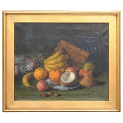 English 1908 Oil on Canvas Still-Life Painting Set Inside a Giltwood Frame