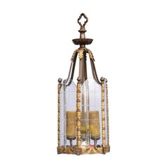 Petite English Edwardian Gothic Revival Bronze Lantern with Glass Panels, 1900s