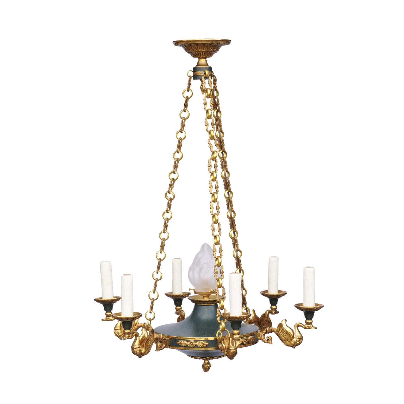 French Six-Light Empire Style Bronze Chandelier with Swan Motifs, circa 1920