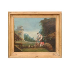 French Late 18th Century Country Scene Oil on Canvas Painting Set in Pine Frame