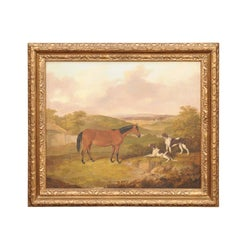 English Thomas Bretland 1850s Framed Oil Painting Depicting a Horse with Dogs