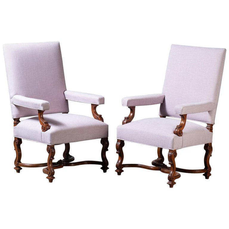 Pair of Antique French Louis XIV Régence Walnut Chairs, circa 1875 For Sale