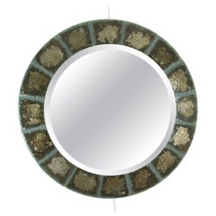 Murano Glass Tile Surround Mirror with Brass Frame