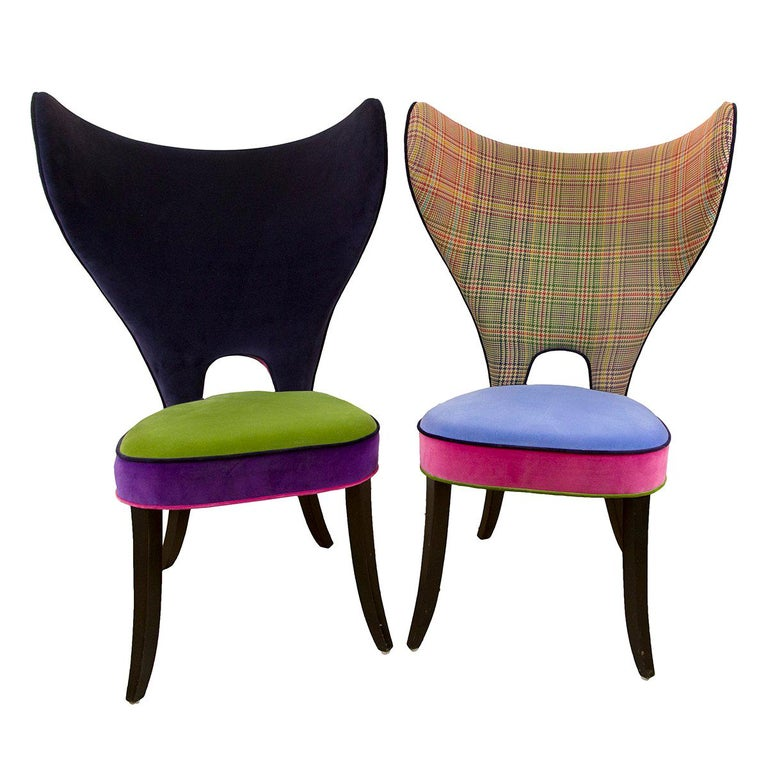 Astonishing Pair Of Unique Multi Fabric Colorful Upholstered Modern Wing Chairs Gmtry Best Dining Table And Chair Ideas Images Gmtryco