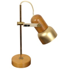 Tronconi Adjustable Table Lamp in Wood, Brass and Metal, Italy FSI Milano, 1970s
