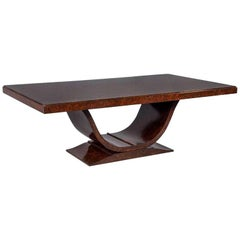 Burled Walnut Art Deco Inspired Lauder Alcott Dining Table