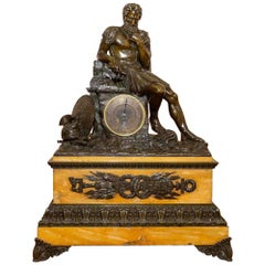 Large Patinated Bronze Figural Mantle Clock