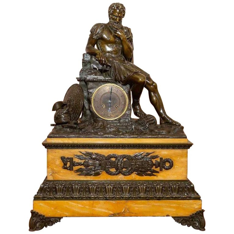 Large Patinated Bronze Figural Mantle Clock For Sale