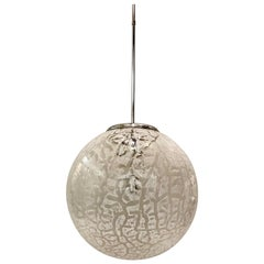 Italian 1970s Murano Glass Globe Pendant Light