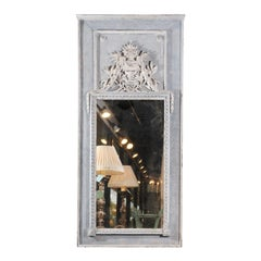 French Light Grey Painted Trumeau Mirror with Floral Décor and Mercury Glass