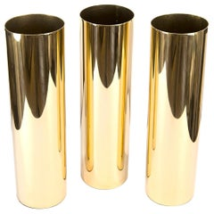 Tall Cylindrical Brass Vase