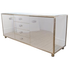 Rectangular Stainless Steel Cabinet with Faux Bamboo and Brass Details