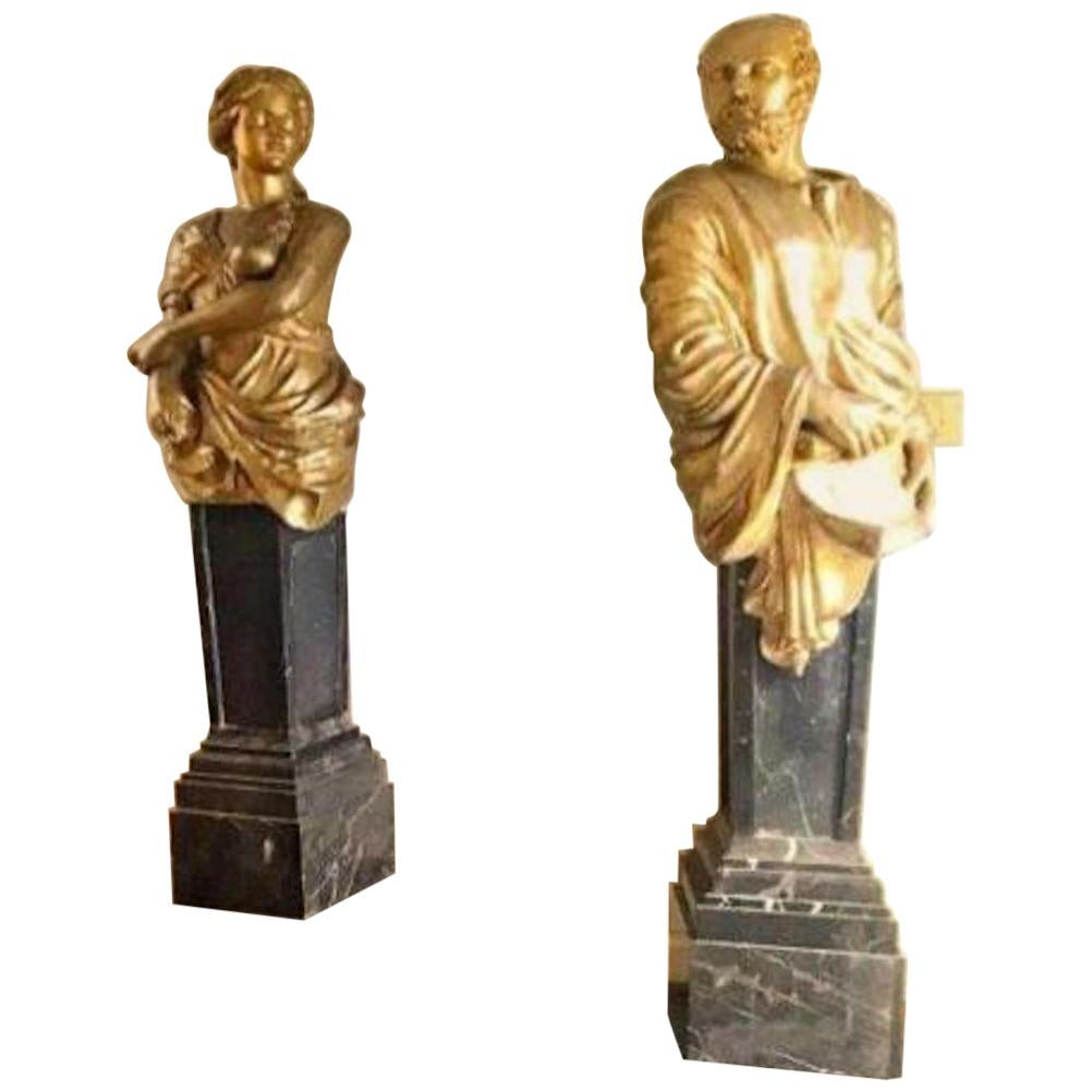 Pair of Substantial Busts on Marble Pedestals