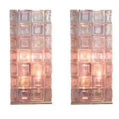 Pair of Stacked Clear and Lavender Glass Cube Table Lamps with Chrome Detail