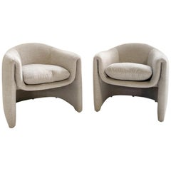 Preview Modernist Lounge Chairs Restored in Loro Piana Alpaca Wool Fabric, Pair