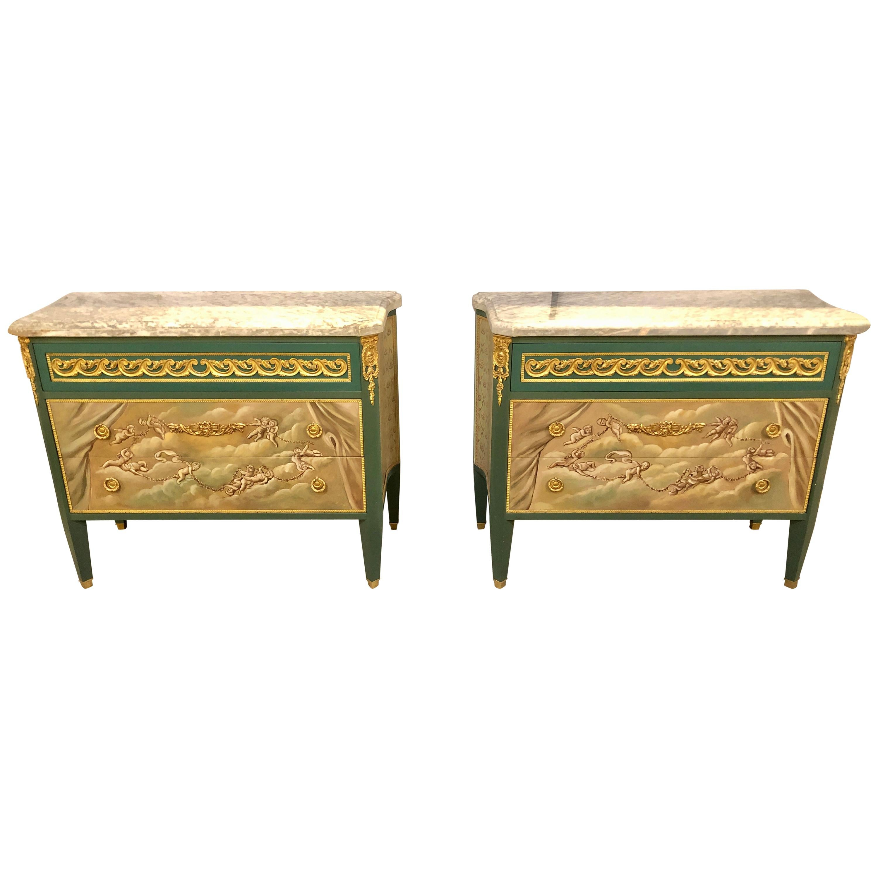 Paint Decorated Hollywood Regency Marble-Top Commodes Manner of M. Jansen, Pair