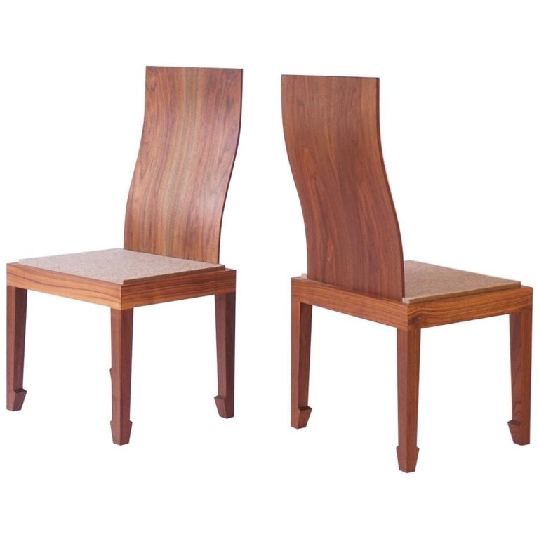 Solid Back Walnut Chinese Dining Chair with Felt Cushion  For Sale