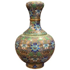 Early 20th Century French Handcrafted Cloisonne Copper Vase with Brass Ring