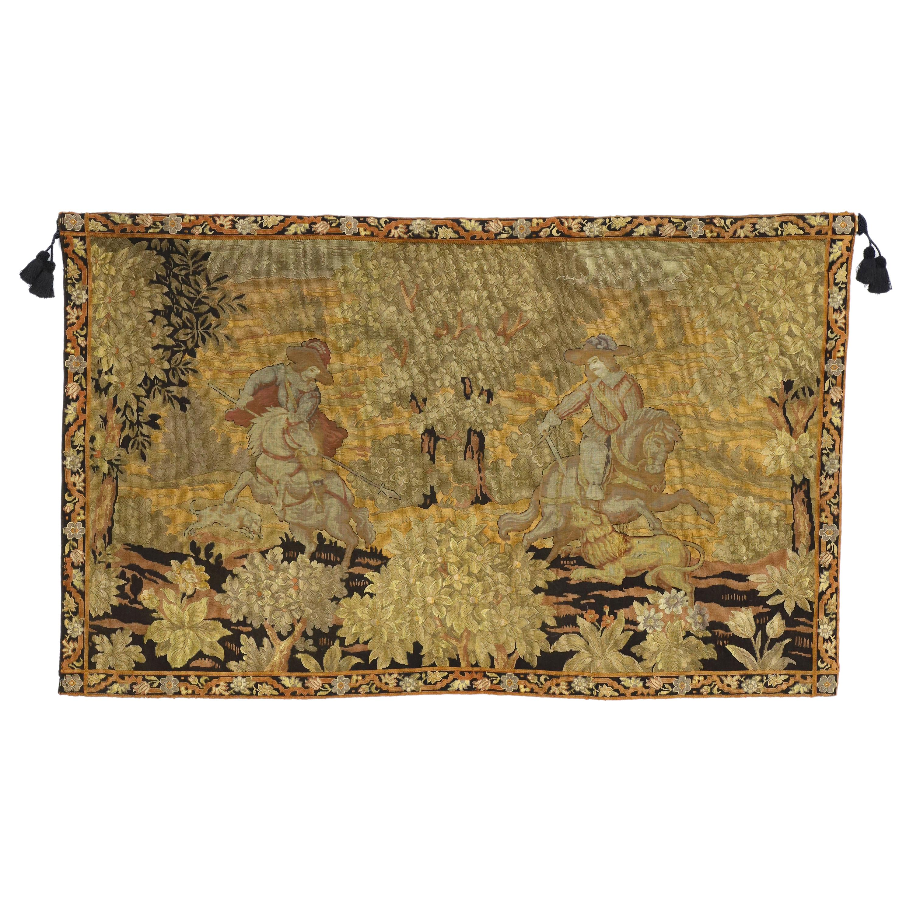 Antique English Tapestry with Medieval Hunting Scene, Wall Hanging