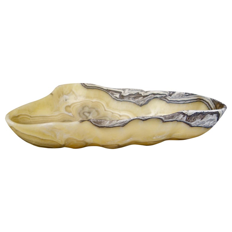 Large Hand Carved Onyx Bowl or Centerpiece in Gold, Gray and White For Sale