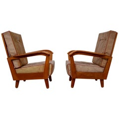 Midcentury Armchairs in Walnut and Leather, Austria, 1950s
