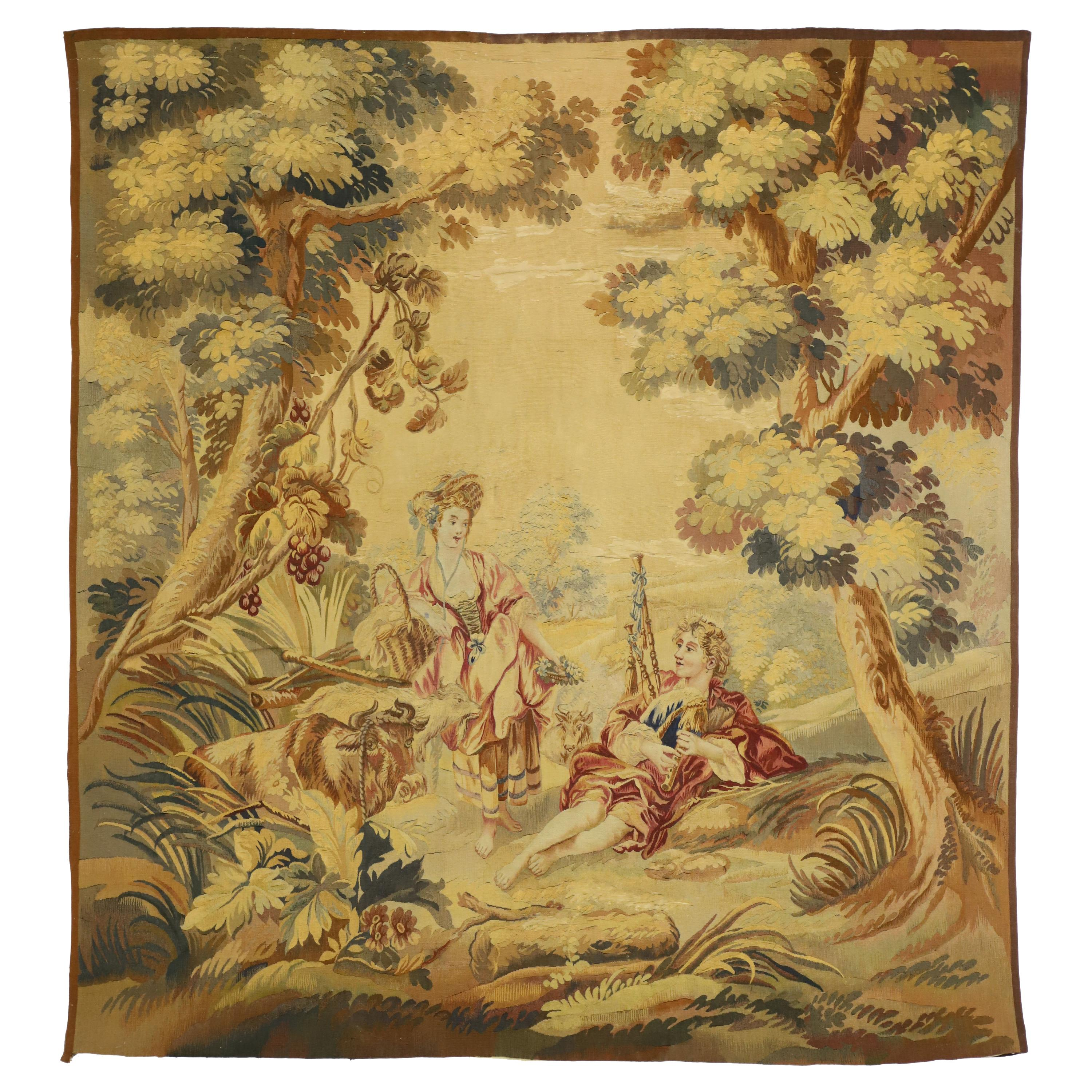 Antique French Tapestry Inspired by Francois Boucher, Le Berger Recompensé