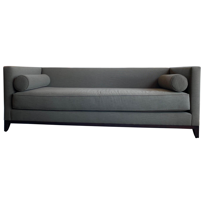 MId-Century Modern Style Sofa Neutral Upholstery