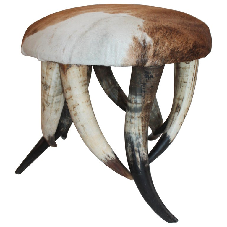 Horn Ottoman with Deer Skin Hide For Sale