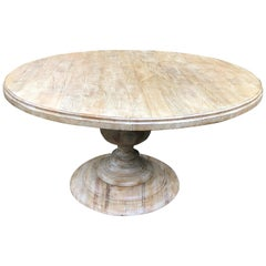 Custom Round Bleached Elm Dining Table with Urn Pedestal Base