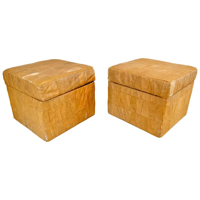 Tan Patchwork Leather De Sede Ottomans with Storage For Sale