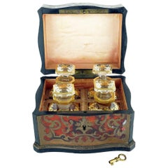18th Century French Boulle Vanity Box with Four Perfume Bottles