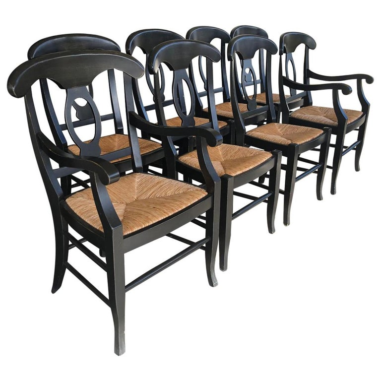 Napoleon Rush Seat Dining Chairs By Pottery Barn Set Of 8