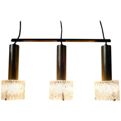 Carl Fagerlund Brass and Crystal Triple Pendant Lamp, Orrefors, 1950s
